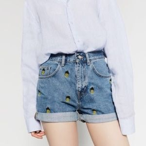 Zara High-Waisted Pineapple Denim Shorts